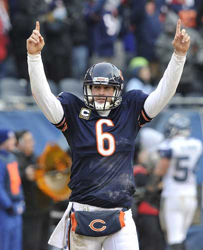 Chicago Bears&#39; Jay Cutler &#40;6&#41; celebrates a touchdown during the second half an NFL divisional playoff football game Sunday, Jan. 16, 2011, in Chicago. <span class=meta>( AP Photo&#47;Jim Prisching)</span>